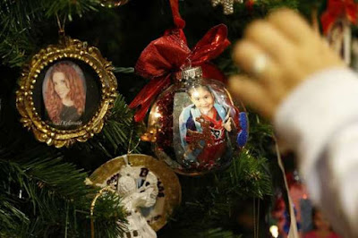 Memorial ornaments on a Christmas tree
