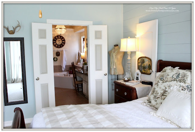 Double Doors Into Master Bath- Rainwash Sherwin Williams Paint-Farmhouse Master Bathroom- From My Front Porch To Yours
