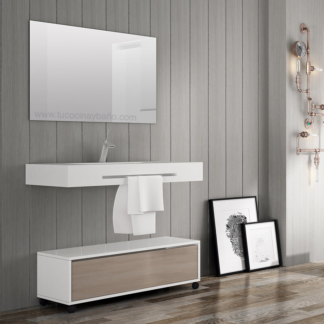Encimera lavabo suspendido tu cocina y ba o for Mueble auxiliar bano bajo lavabo