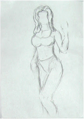 Posing Woman drawing