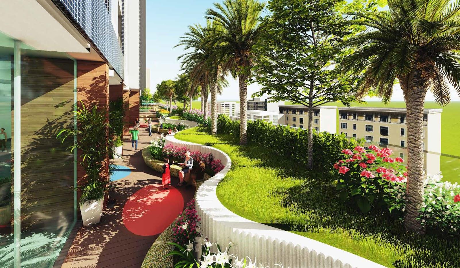 Công viên cây xanh thoáng mát tại chung cư The Golden Palm