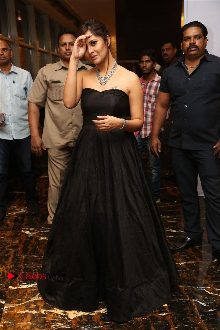 Anasuya Bharadwaj Stills in Strap Less Black Long Dress at Winner Pre Release Function