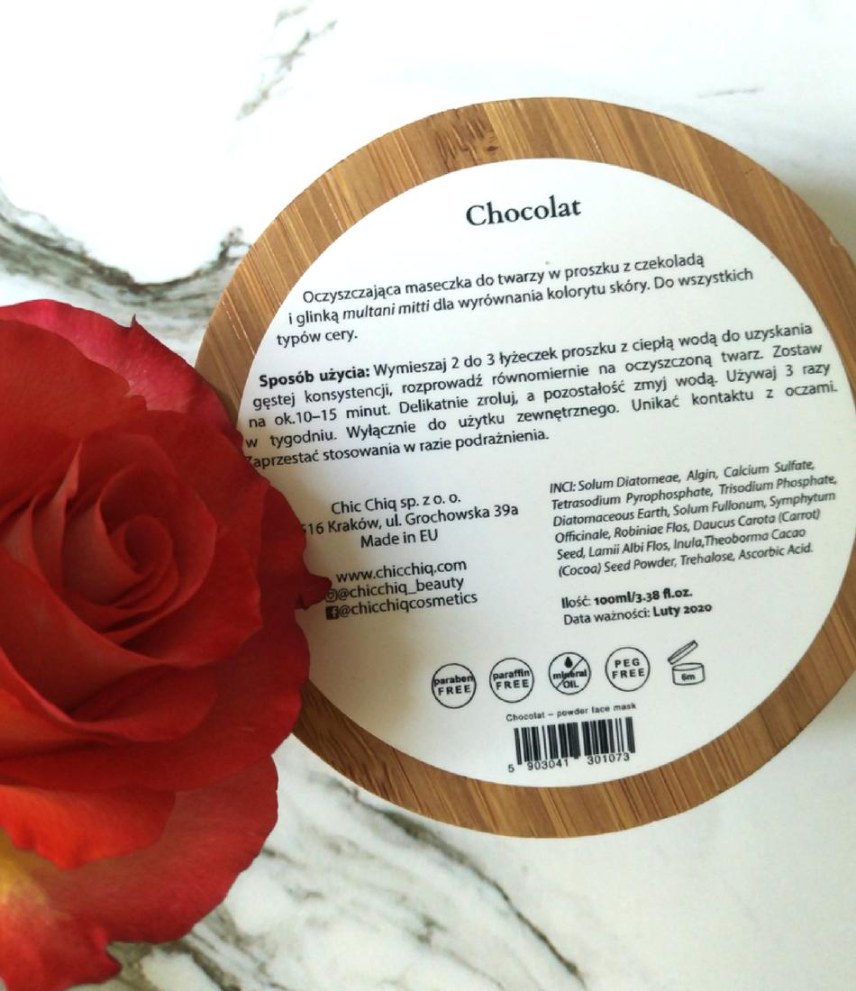 Chic Chiq maseczka Chocolat skład inci blog