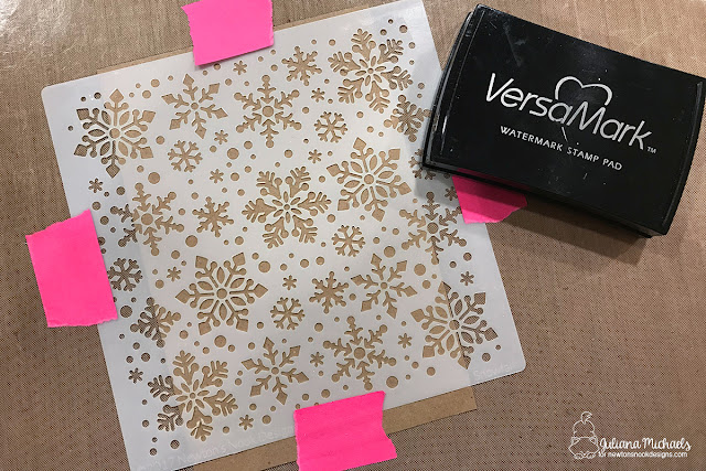 Heat embossing with a stencil and Versamark Watermark Ink Pad