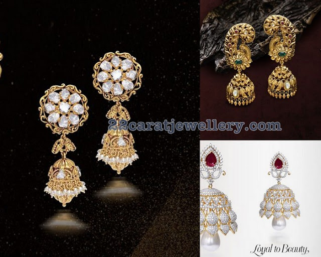 Diamond Nakshi Jhumkas by JCS Jewel Creations