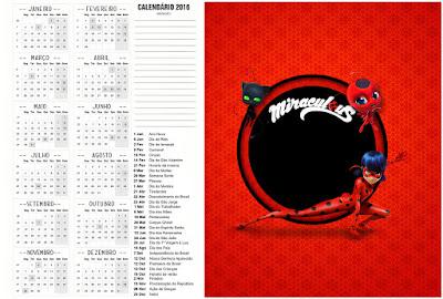 Calendario 2016 para imprimir gratis de Prodigiosa Ladybug.
