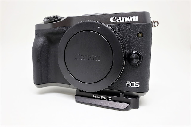 Hejnar D035 QR plate mounted on Canon EOS M6 - front view