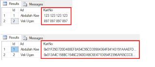 SQL Server 2016 Yenilikleri - Always Encrypted - Şifreleme Sonucu