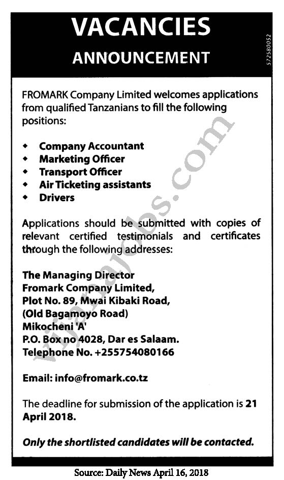 Job At Fromark Company Limited Company Accountant Marketing