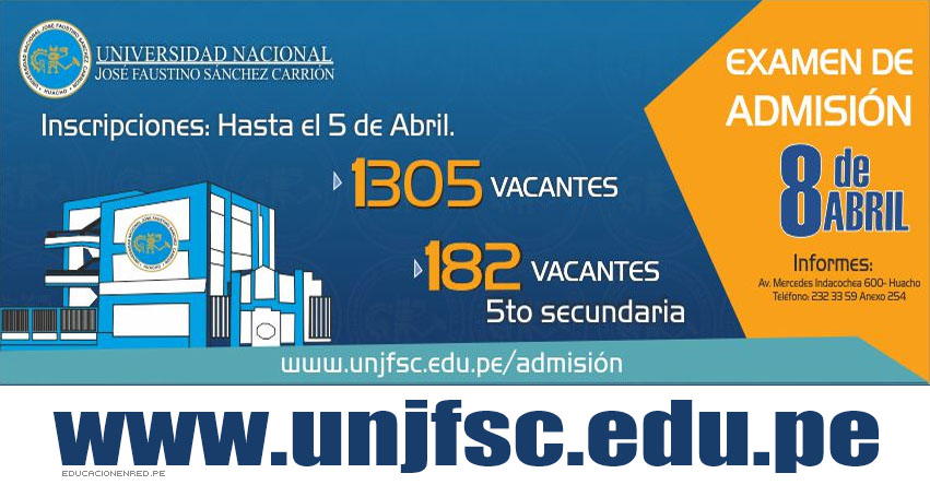 Resultados UNJFSC 2018-1 (8 Abril) Lista Ingresantes Examen Admisión Huacho, Lunahuana - Universidad Nacional José Faustino Sánchez Carrión - www.unjfsc.edu.pe