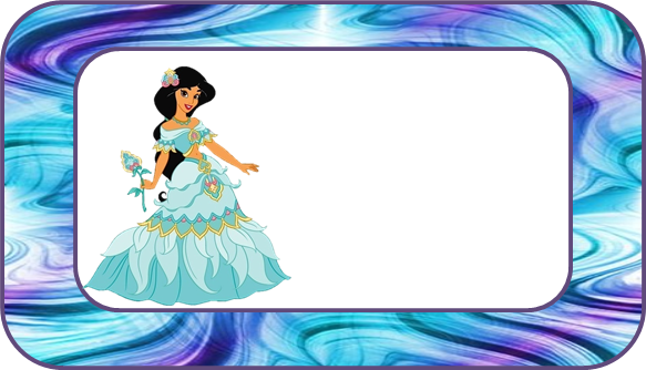 Etiquetas de Jazmine Vestida de Princesa para imprimir gratis.