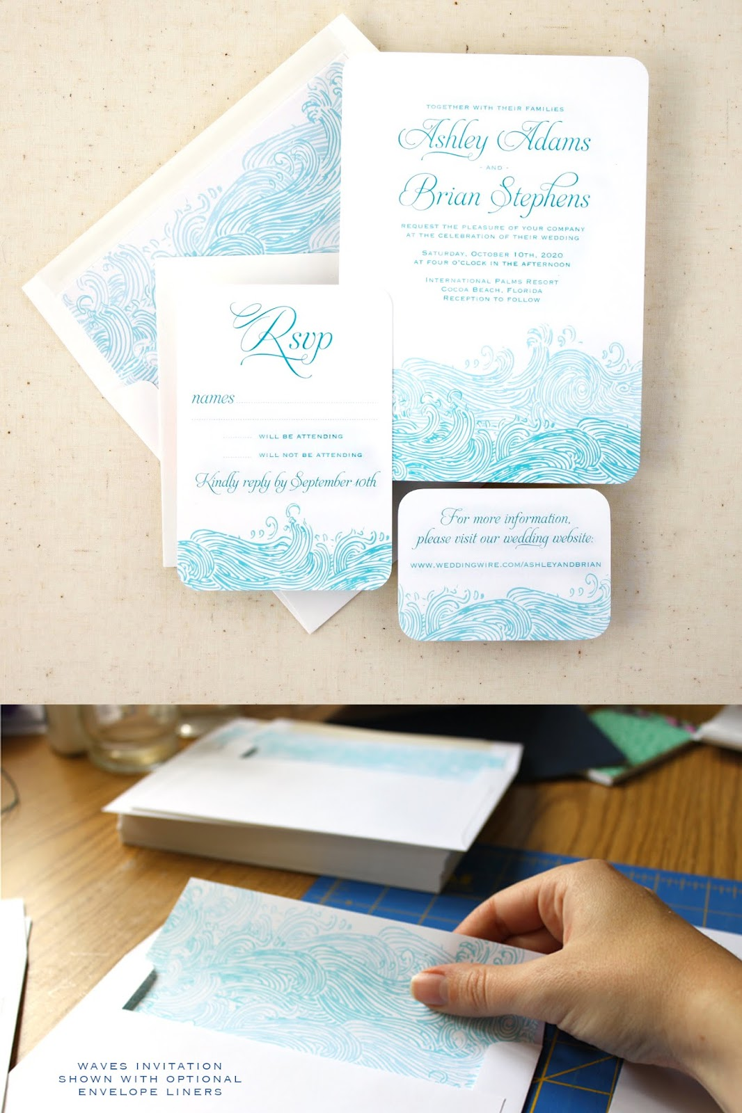 Waves Beach Wedding Invitations with RSVP and Website Card from Concertina Press