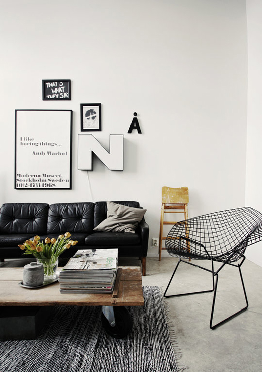 Wire Frame Accents Black Wire Frame Bowl Chair Seating in Living Area