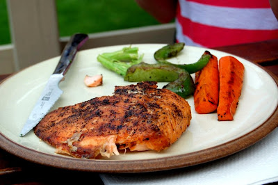 Salmon and Grilled Vegetables - Photo by David Yussen