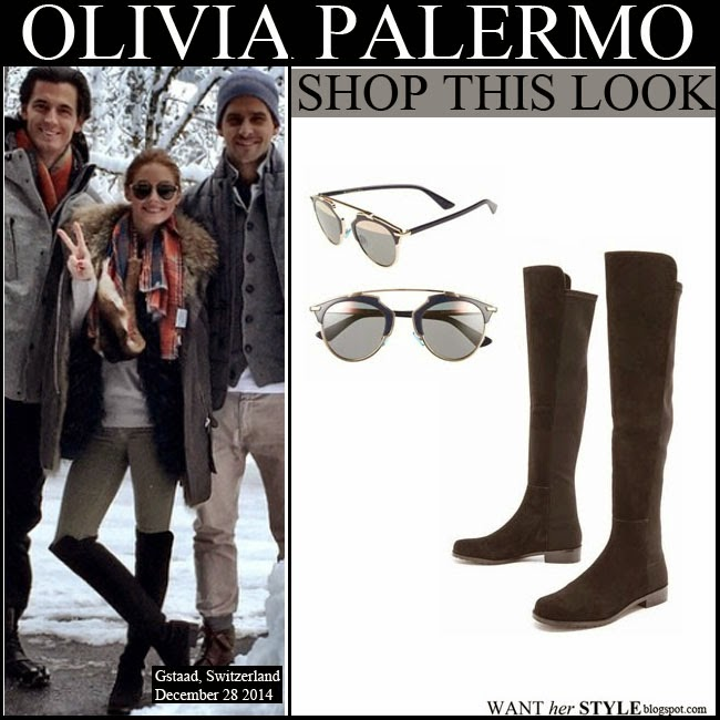5147cfb9479 WHAT SHE WORE  Olivia Palermo in black suede over the knee boots fur ...