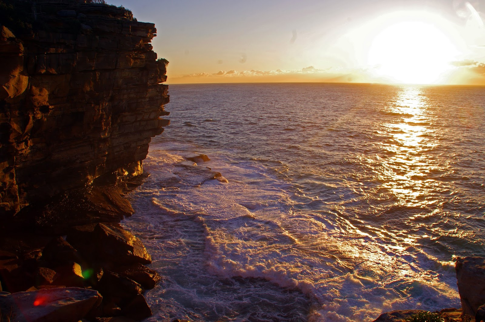 Red sunrise from Sydney harbour national park