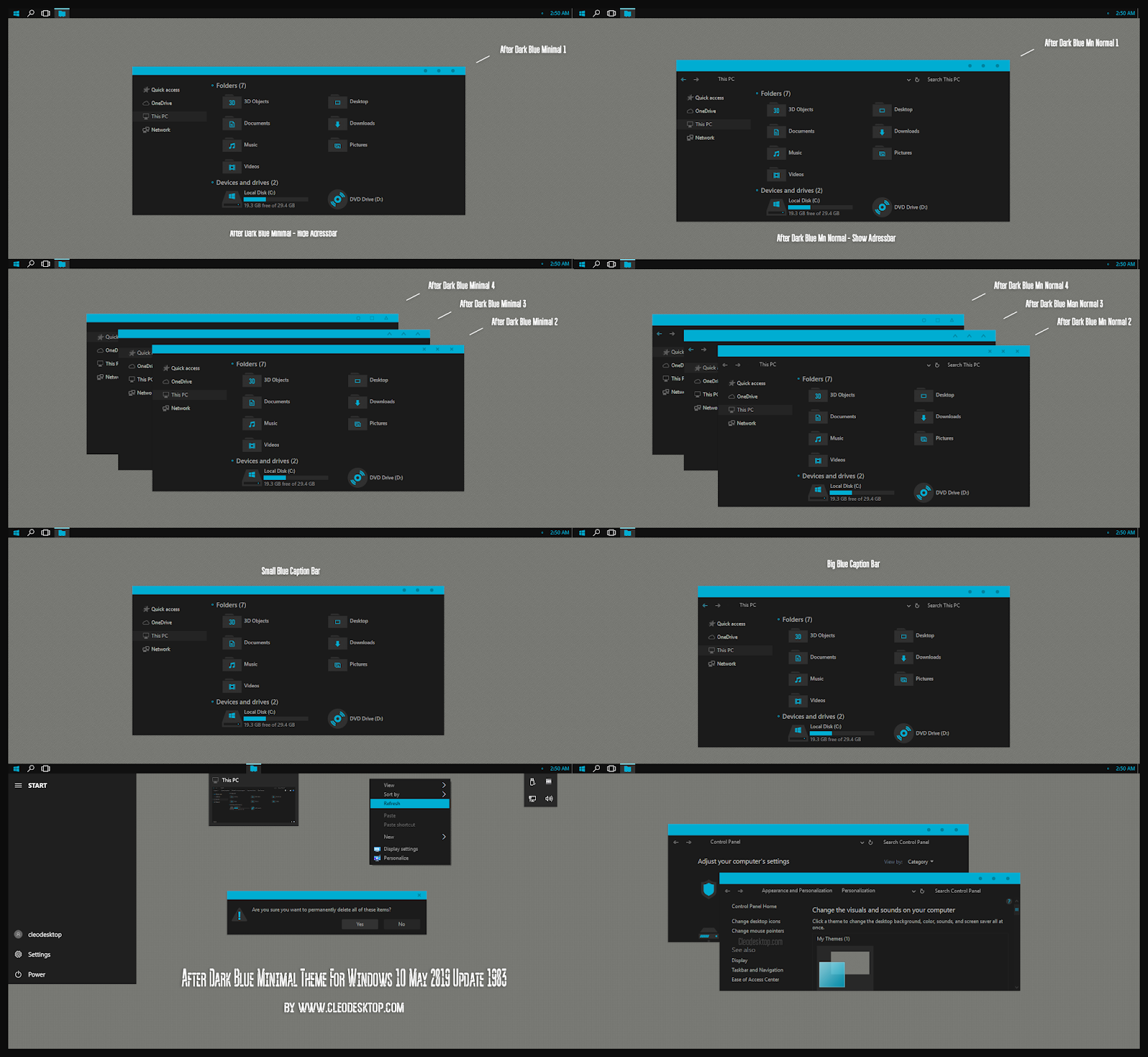 After Dark Blue Minimal Theme Windows10 May 2019 Update 1903