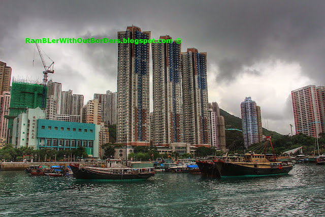 Floating Village and Apartment Highrises, Aberdeen West Typhoon Shelter, Hong Kong