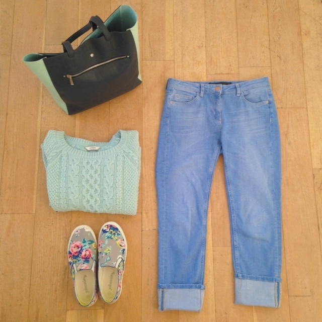 What Lizzy Loves. Mint green cable jumper, pale cropped jeans, floral slip-on trainers