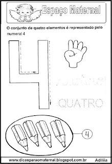 Desenho numeral 4 para colorir