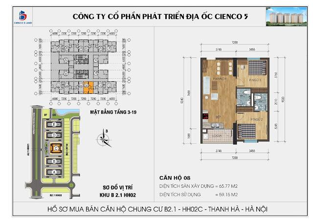 Mặt bằng căn hộ số 08 tòa HH02C - B2.1 Thanh Hà Mường Thanh