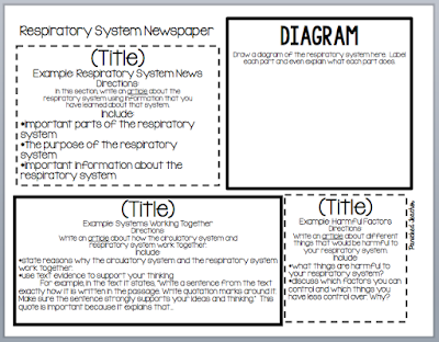 Student template for students to complete a project on the RESPIRATORY SYSTEM! <FREE> DOWNLOAD!!!