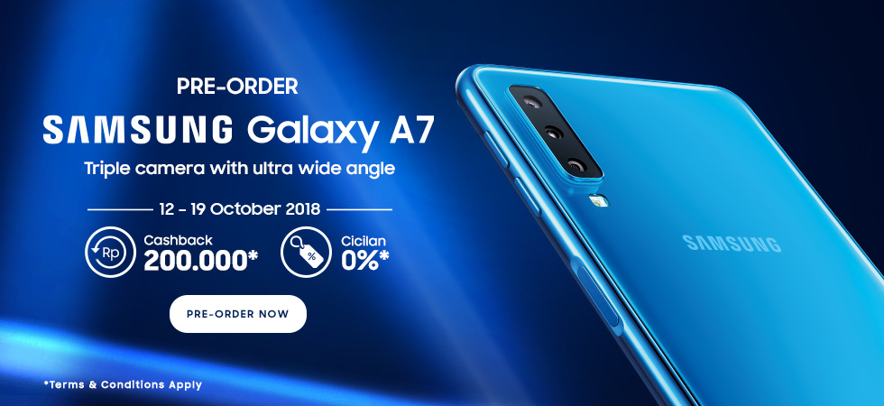 Elevenia - Promo Cashback s.d 200Ribu di PreOrder Samsung A7 (s.d 19 Okt 2018)