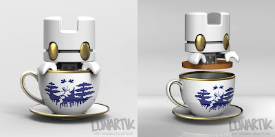 """Royal Tea"" Porcelain Lunartik in a Cup of Tea by Matt Jones"