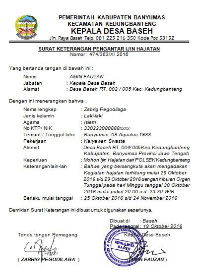 Contoh Surat Keterangan Pengantar Ijin Hajatan