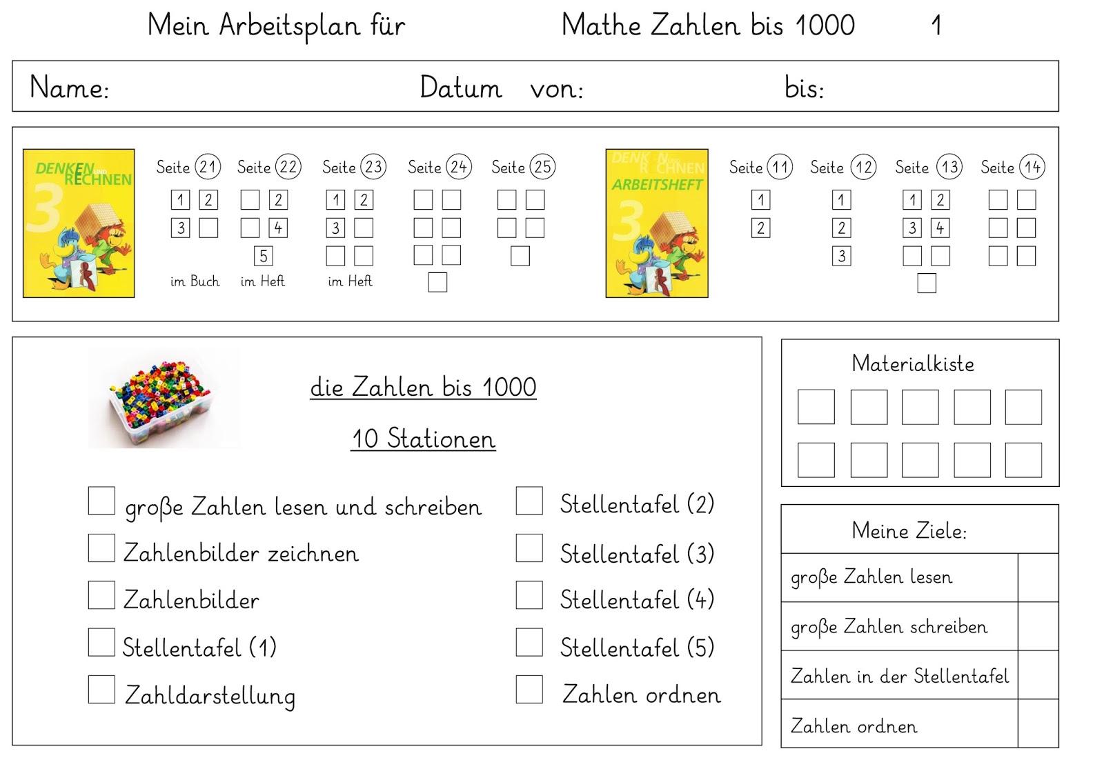 Lernstübchen: mein Arbeitsplan für Mathe