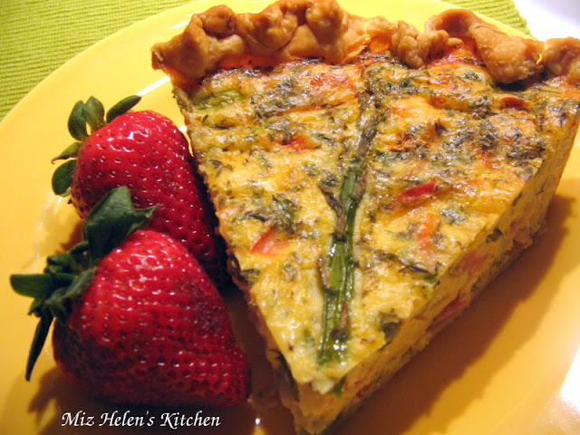 Ham and Asparagus Quiche at Miz Helen's Country Cottage