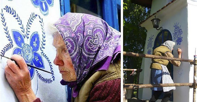 A 90-year-old Granny Turns A Small Village Into An Art Gallery By Painting Flowers On Her Homes