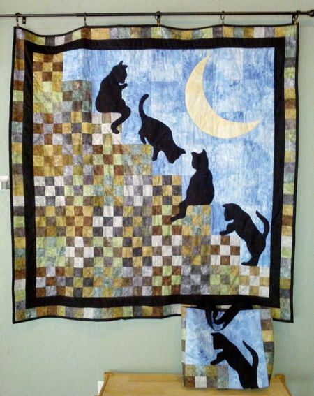 Cat Stairway to Heaven Quilt Free Pattern