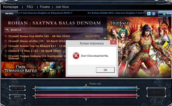 Mengatasi Don't Donwload List File pada Game Rohan Online Tanpa Instal Ulang