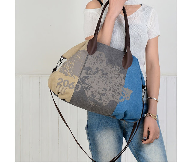 Women's Large Patchwork Map Shoulder Bag