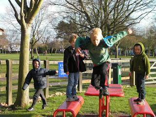 jumping game from park benches