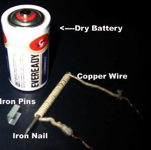 घर पर विद्युत चुंबक यानि Electromagnet बनाने की विधि