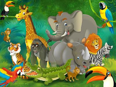 Animales de la selva en una bonita ilustración HD