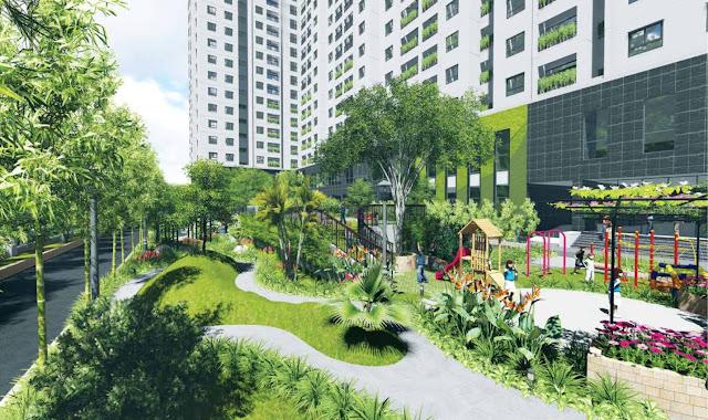 Cảnh quan sân vườn tại Mipec Kiến Hưng