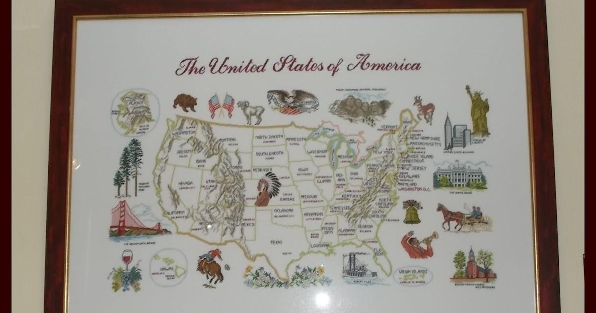 Manuelas Flowergarden: Gerahmte USA Karte