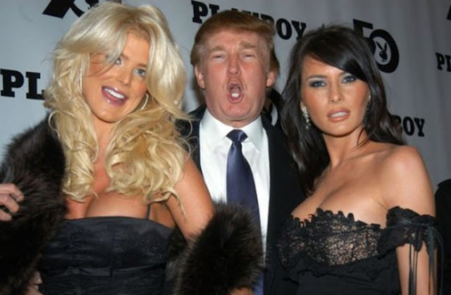 Donald Trump, Victoria Silvstedt , 1997 Playmate of the Year and Melania Knauss, at Playboy