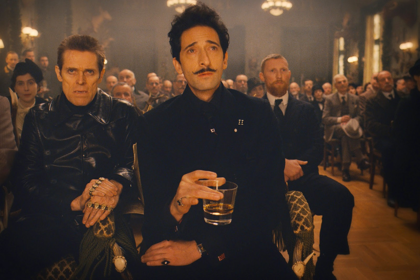 Willem Dafoe as Jopling and Adrien Brody as Dmitri, in The Grand Budapest Hotel (2014), Directed by Wes Anderson