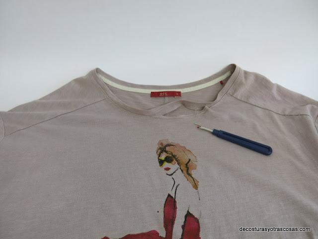 arreglar escote camiseta de punto