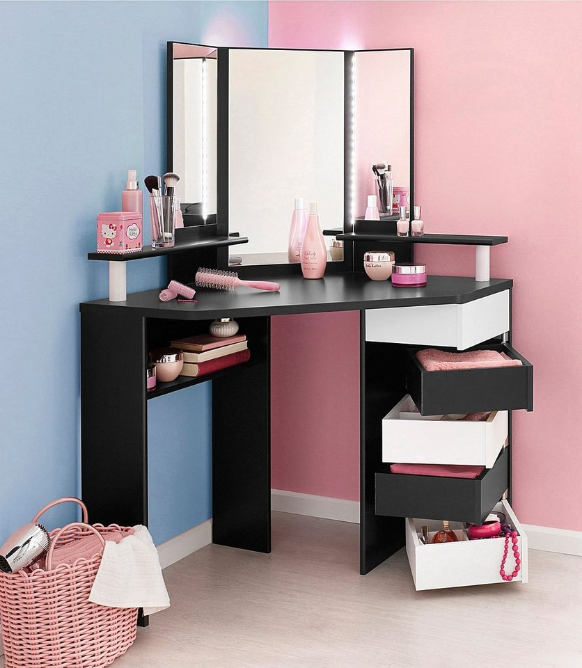 Portable Vanity Table With Storage And Mirror