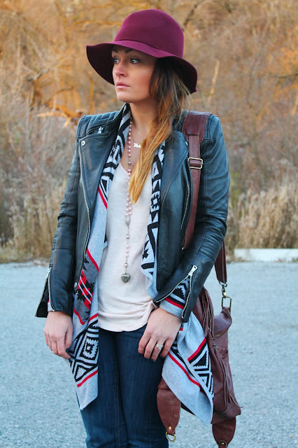 H&M hat, aztec print sweater, boho look, Forever 21 sweater, H&M jeans, slouchy boots, leather cross body bag, fringe boots, Zara leather jacket, moto jacket, biker jacket