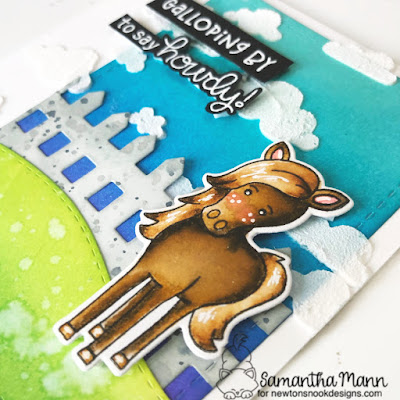 Galloping By to Say Howdy Card by Samantha Mann for Newton's Nook Designs, Horse, Distress Inks, Ink Blending, Die Cuts, Just Because, Cards, handmade cards, embossing paste, stencil #newtonsnook #cards #handmadecards #distressinks #Inkblending #horse #gallop