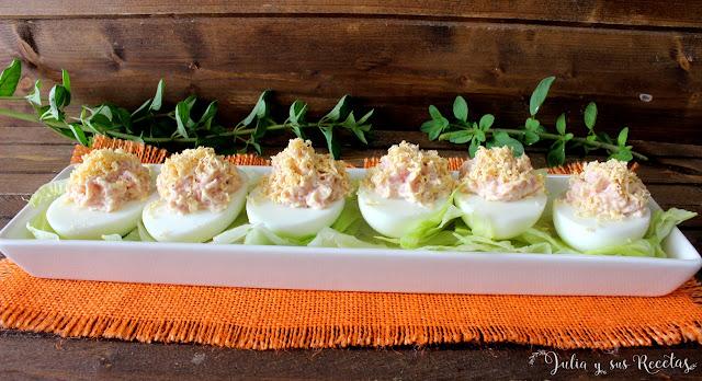 Huevos rellenos de jamón cocido. Julia y sus recetas