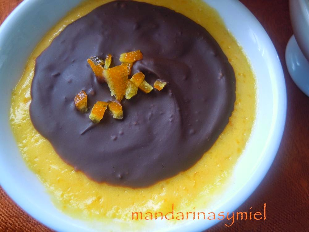 Crema Valenciana de mandarinas con chocolate. Y resultado..