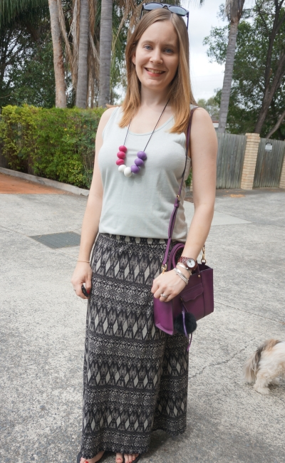 summer printed maxi skirt and metallic tank with purple accessories | Away From The Blue Blog