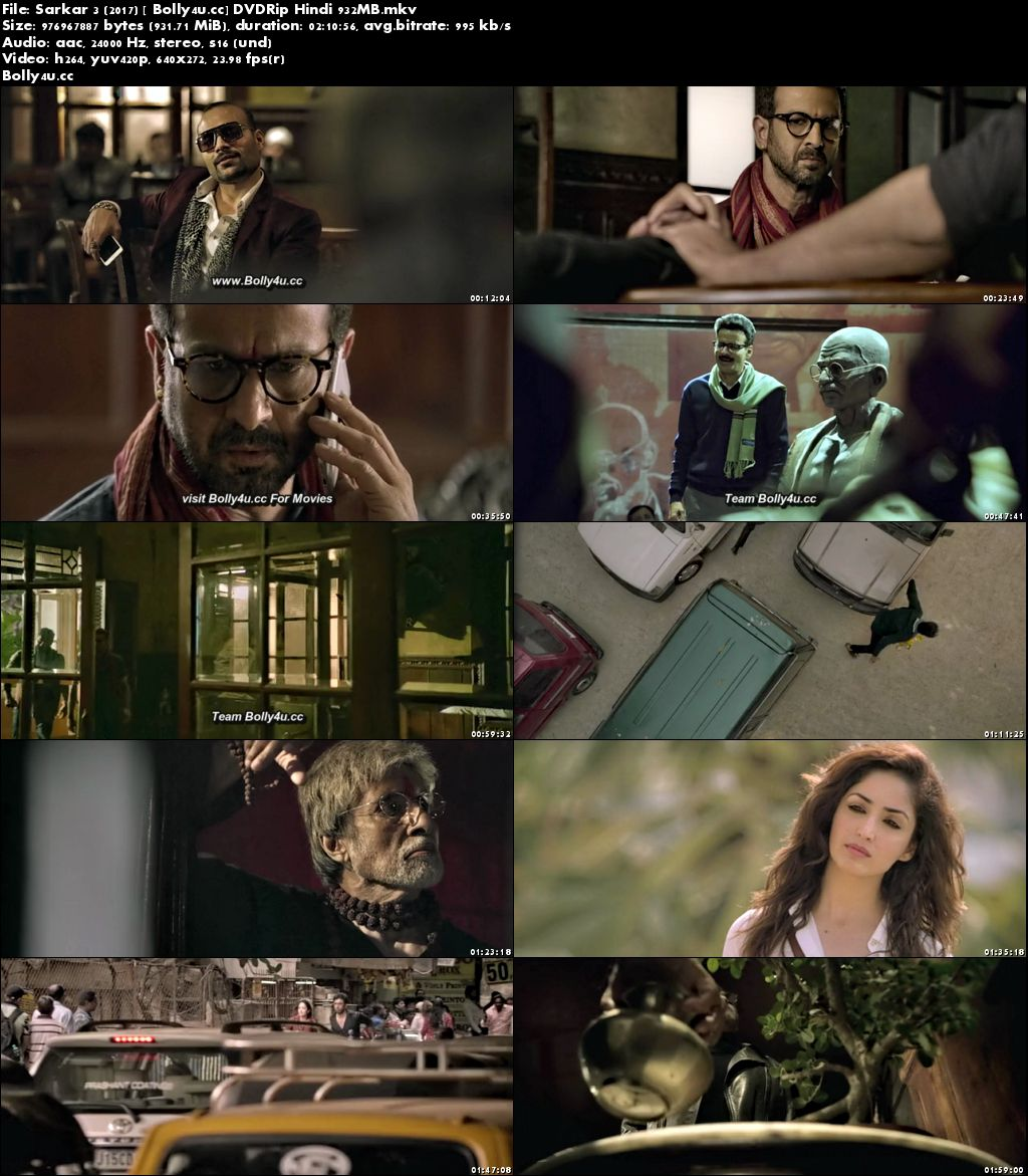 Sarkar 3 2017 DVDRip 900MB Full Hindi Movie Download x264